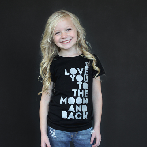 "Black ""I Love You to the Moon and Back"" Fitted Tee - The Talking Shirt"