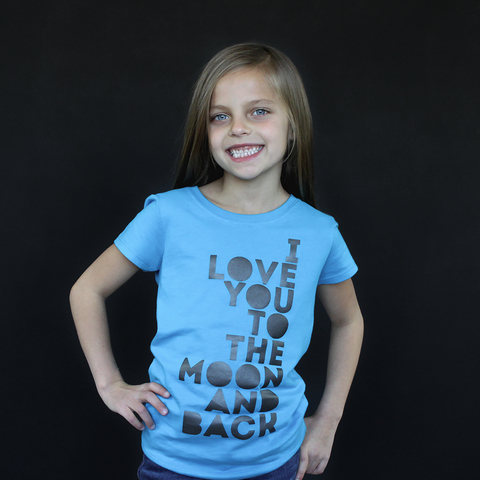 "Turquoise ""I Love You to the Moon and Back"" Fitted Tee - The Talking Shirt"