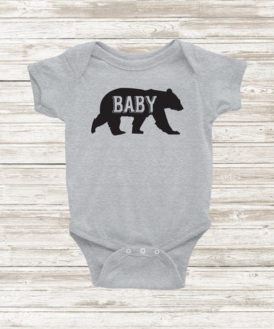 """Baby Bear"" Heather Grey Bodysuit - The Talking Shirt"