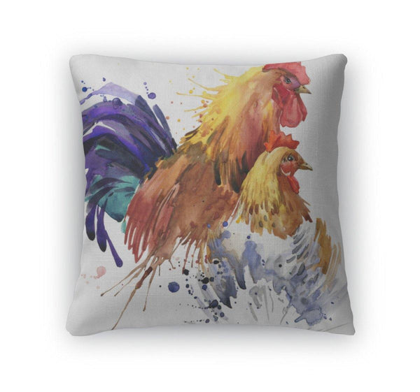 Chicken And Rooster Throw Pillow Case