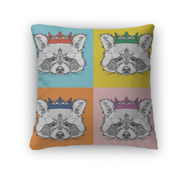 Raccoon With Crown Throw Pillow Case