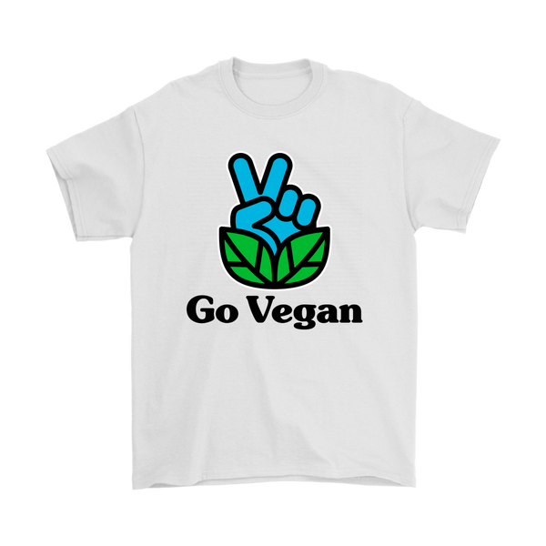Go Vegan Revolution Blue Logo With Text Shirt (Mens)