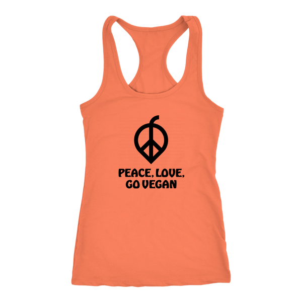 Peace, Love, Go Vegan Tank Top (Womens)