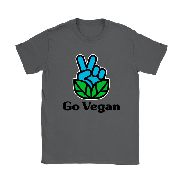 Go Vegan Revolution Blue Logo With Text Shirt (Womens)
