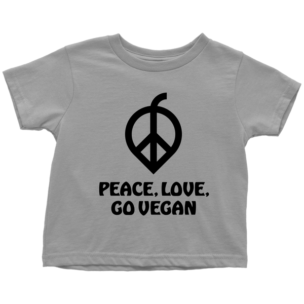 Peace, Love, Go Vegan Shirt (Toddler)