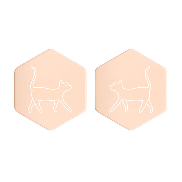 Sterling Silver Hexagon Stud Cool Cat Earrings