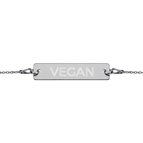 Vegan Engraved Silver Bar Chain Bracelet