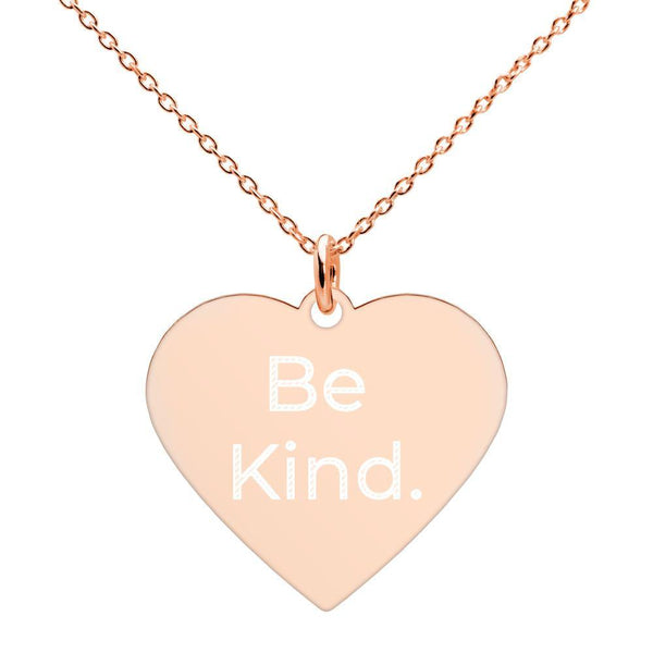 Be Kind Engraved Silver Heart Necklace