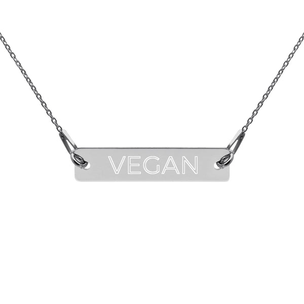 Vegan Engraved Silver Bar Chain Necklace