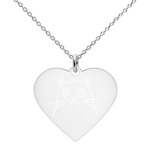 Cat Engraved Silver Heart Necklace