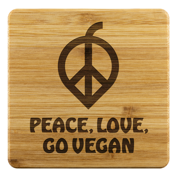 Peace, Love, Go Vegan Bamboo Coasters