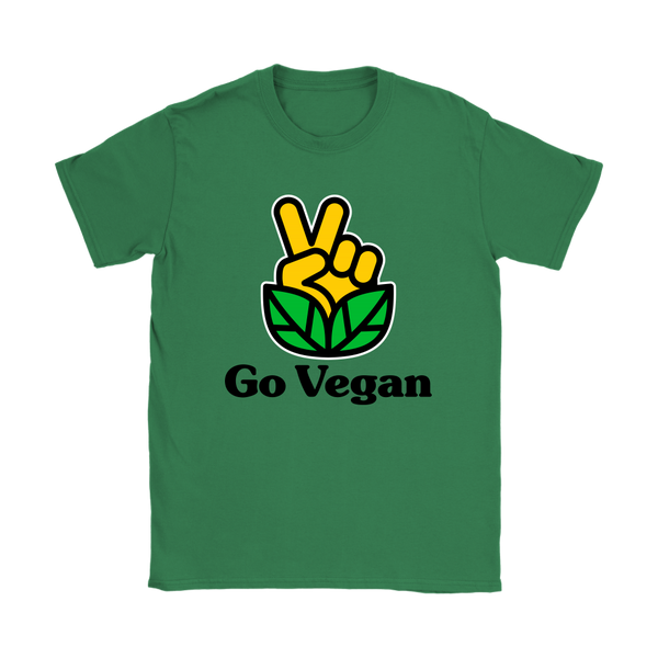 Go Vegan Revolution Yellow Logo With Text Shirt (Womens)
