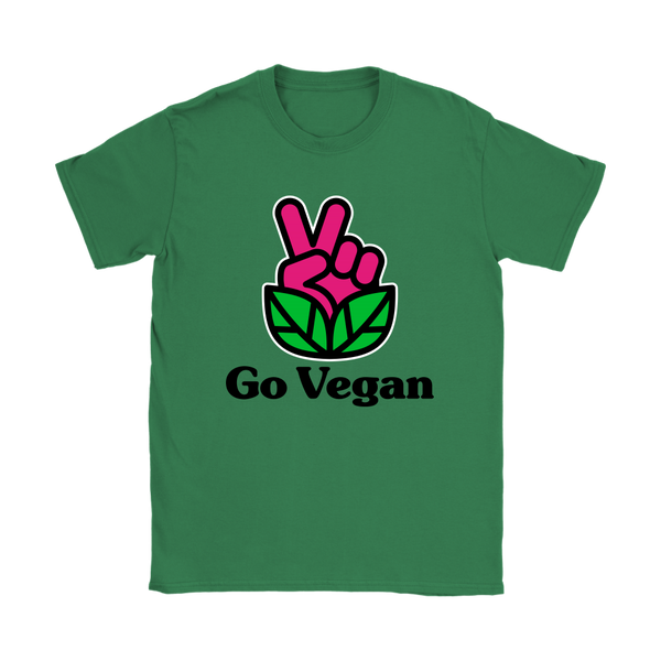 Go Vegan Revolution Magenta Logo With Text Shirt (Womens)