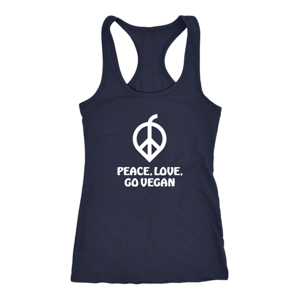 Peace, Love, Go Vegan White Print Tank Top (Womens)