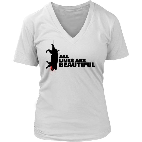 T-shirt - All Lives Are Beautiful - V-Neck