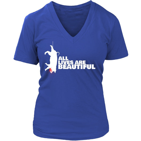 T-shirt - All Lives Are Beautiful- V-Neck Shirt