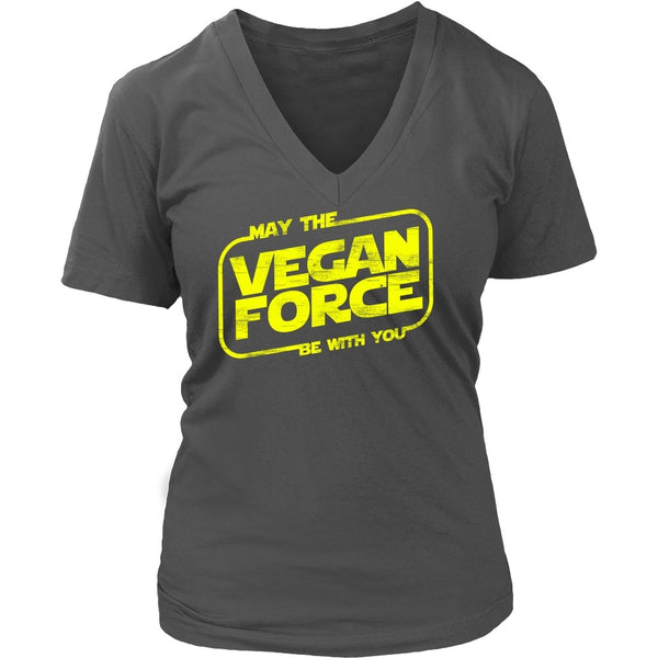 T-shirt - May The Vegan Force Be With You - V-Neck
