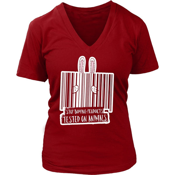 T-shirt - Stop Buying Products Tested On Animals - V-Neck