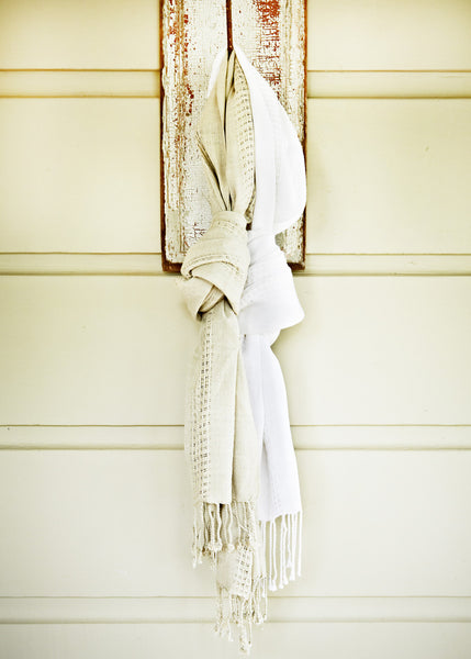 Linen Lattice Scarf (white)
