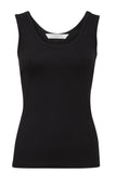 Essential Cotton Stretch Singlet (black)