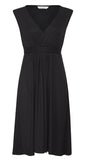 Capped Sleeve Jersey Dress (black)