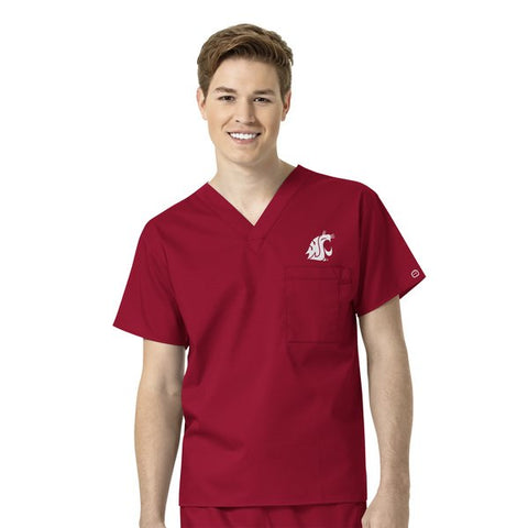 Unisex V-Neck WSU Cougar's Crimson Scrub Top