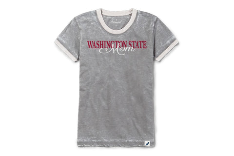 Light Grey/White Trim Vintage Washington State Mom Crew Neck T-Shirt