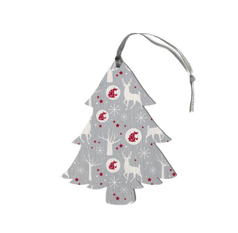 Grey WSU Wood Tree Christmas Ornament