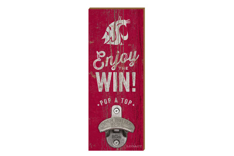"Crimson ""Enjoy The Win"" Wood Bottle Cap Opener"