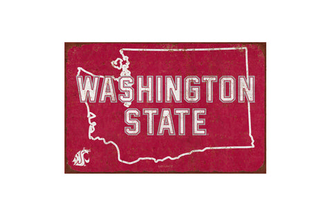 Crimson Washington State Tin Sign