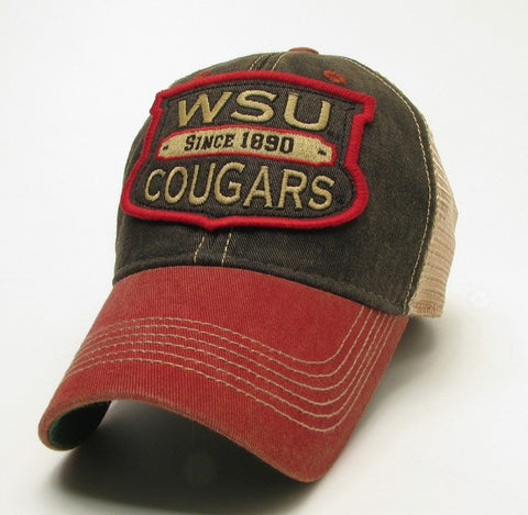 WSU Cougars Faded Brown and Crimson Vintage Hat