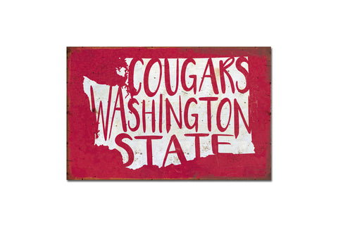 Cougars Washington State Metal Sign