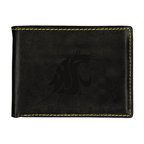 WSU Dark Brown Leather Bifold Wallet