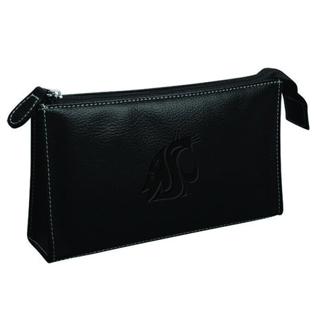 WSU Black Leather Makeup Bag
