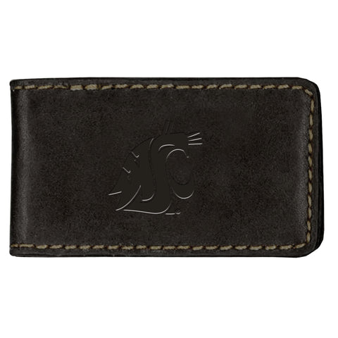 Black Leather Cougar Money Clip