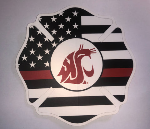 WSU Cougars Fire Flag Decal