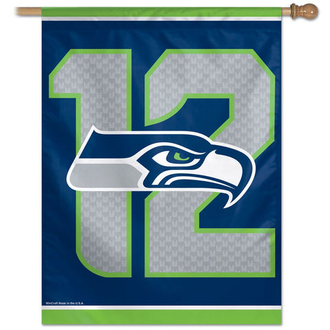 Seattle Seahawks 12 Logo Vertical Flag