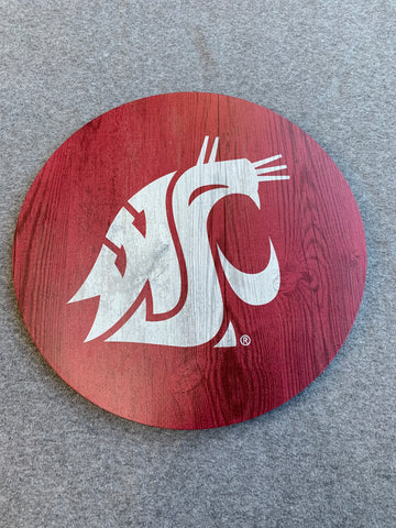 Crimson WSU Circle Sign