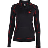 Ladies WSU Cougars Black Long Sleeve 1/4 Zip Up