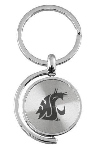 Silver Spin Cougar Logo Keychain