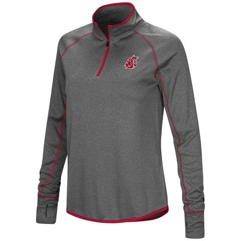 Grey WSU Ladies 1/4 Zip with Crimson Details