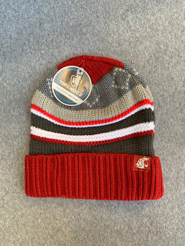 Crimson, Grey, & Brown WSU Cougars Knit Beanie