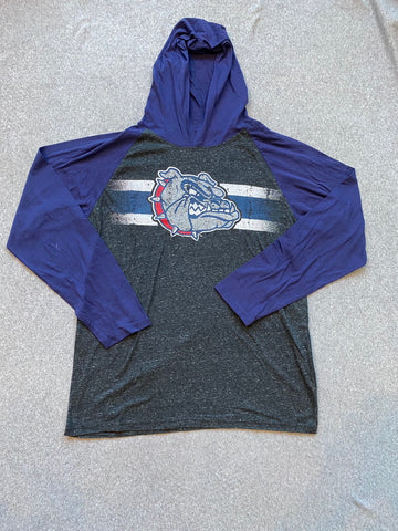Grey and Navy Men's Gonzaga Long Sleeve With Hood