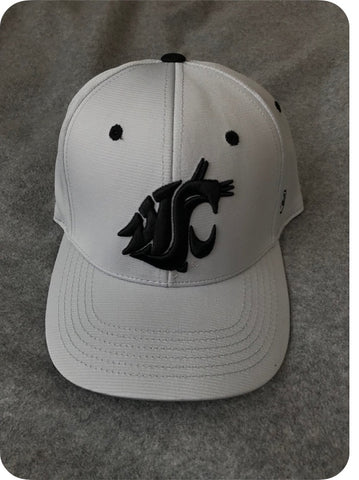 Off White and Black Cougar Embroidered Fitted Hat