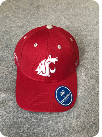 Crimson and White Cougar Embroidered Adjustable Hat