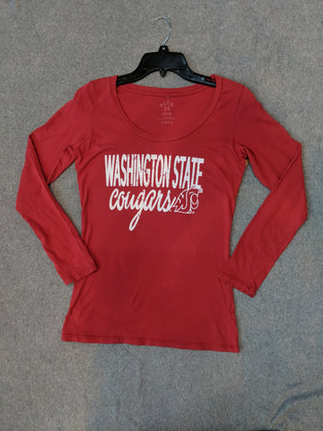 Ladies Crimson Washington State Cougars Long Sleeve Shirt