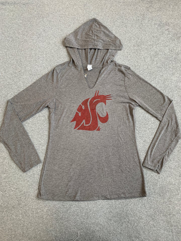 WSU Grey Women's Long Sleeve V-Neck Hoodie