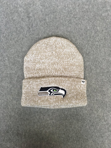 Tan and White Seahawks Fold Over Beanie