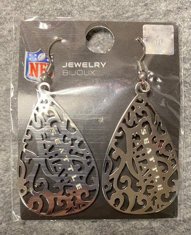 Silver Seattle Seahawks Drop Earring