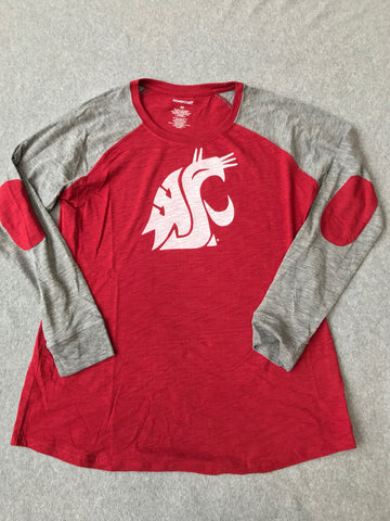 Ladies WSU Long Sleeve Elbow Patch T-Shirt